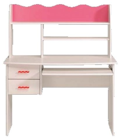 kinder schreibtisch tisch lilou mit aufsatz in kiefer wei pink 108x128x59cm ebay. Black Bedroom Furniture Sets. Home Design Ideas
