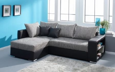 polsterecke eck couch sofa strukturstoff microvelours mit schlaffunktion john ebay. Black Bedroom Furniture Sets. Home Design Ideas
