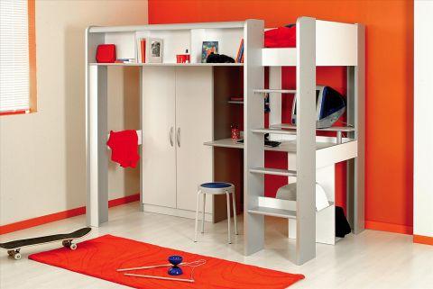 hochbett kinderbett space in wei mit schrank und. Black Bedroom Furniture Sets. Home Design Ideas