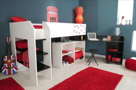 multifunktions hochbett kinderbett theo weiss schwarz. Black Bedroom Furniture Sets. Home Design Ideas