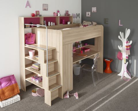 hochbett between mit schrank regalen schreibtisch kernbuchefarben 245x201x122 cm ebay. Black Bedroom Furniture Sets. Home Design Ideas