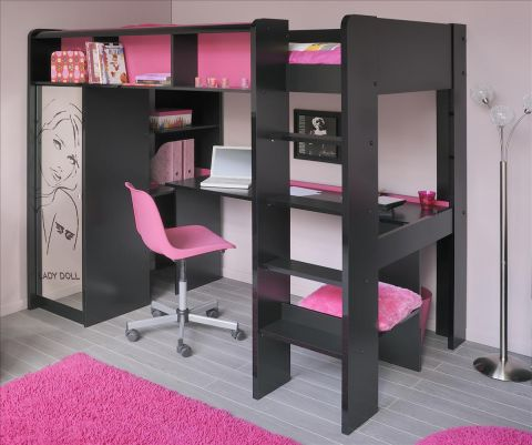 details zu etagenbett hochbett lady doll schwarz mit schrank schrei. Black Bedroom Furniture Sets. Home Design Ideas