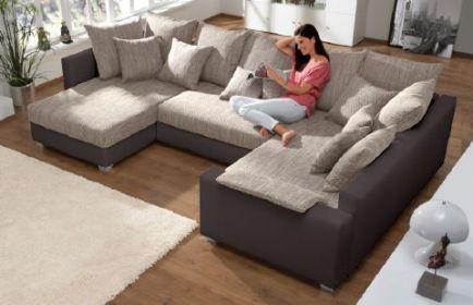 Wohnlandschaft Eck-Couch/Sofa mit Federkern-Polsterung und 16 Kissen #Pesaro