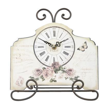Standuhr-Uhr-Rosen-Paris-Clayre-Eef-Romantik-Nostalgie-Kuechenuhr-Landhausstil