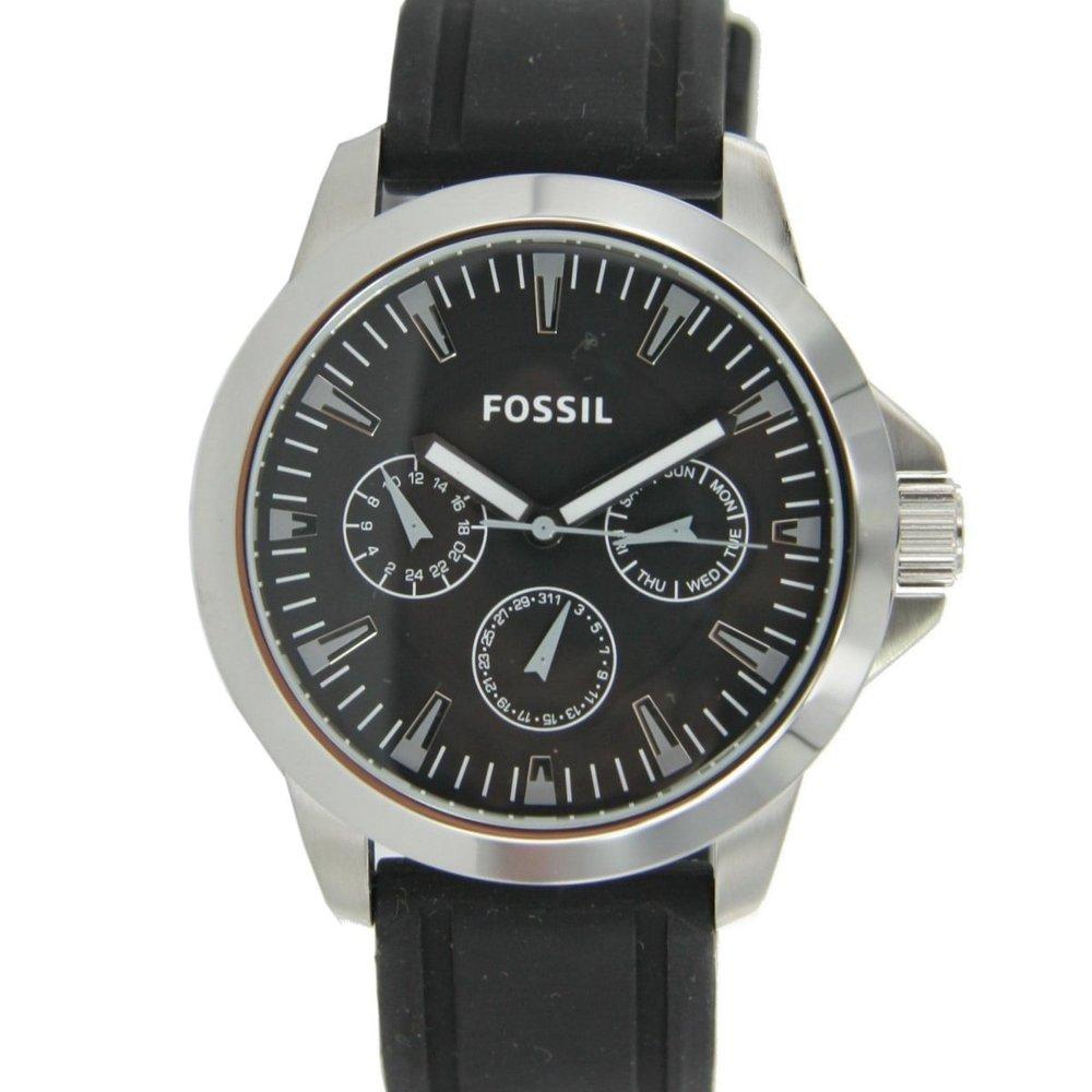fossil herren uhr chronograph armbanduhr schwarz silikon. Black Bedroom Furniture Sets. Home Design Ideas