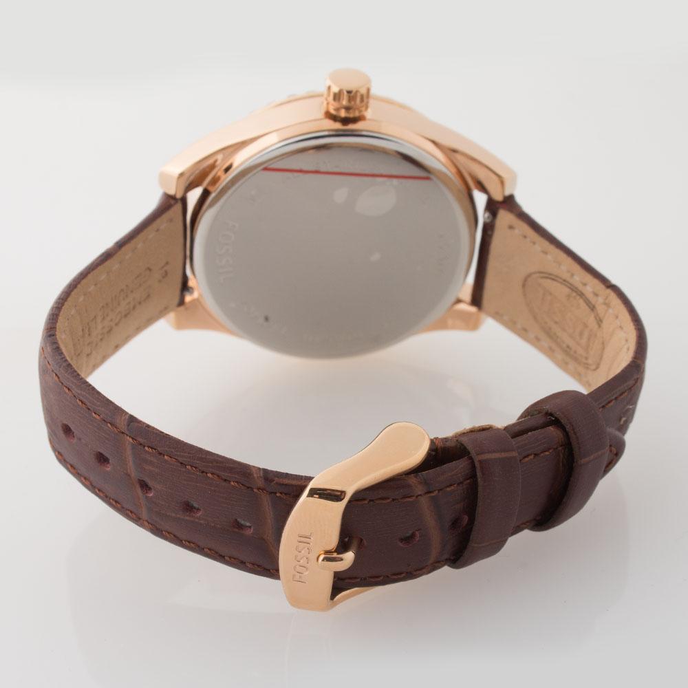 fossil damen armband uhr bq1540 zirkonia chronograph leder braun uvp 129 euro ebay. Black Bedroom Furniture Sets. Home Design Ideas