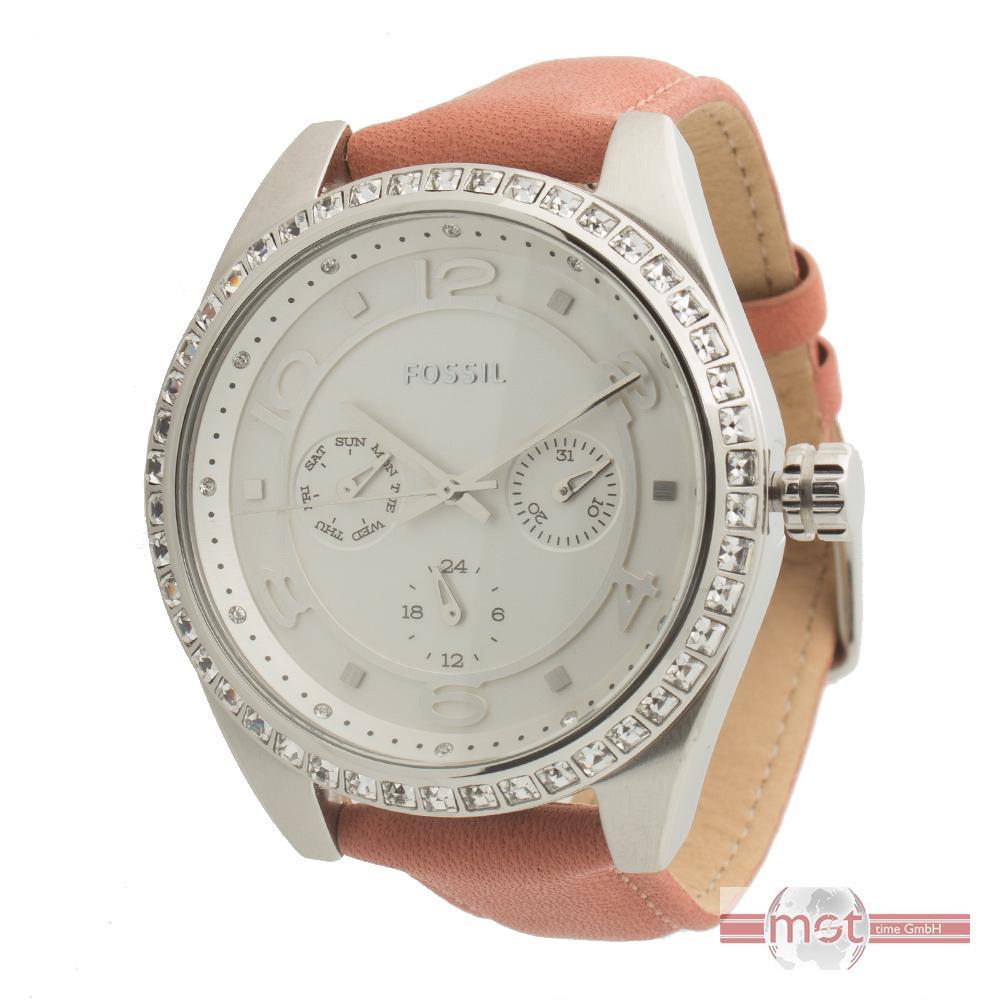 fossil bq1227 damen armband uhr leder zirkonia chronograph uvp 129 euro ebay. Black Bedroom Furniture Sets. Home Design Ideas
