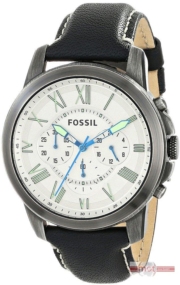 uhr fossil grant fs4921 herren wei leder chronograph. Black Bedroom Furniture Sets. Home Design Ideas