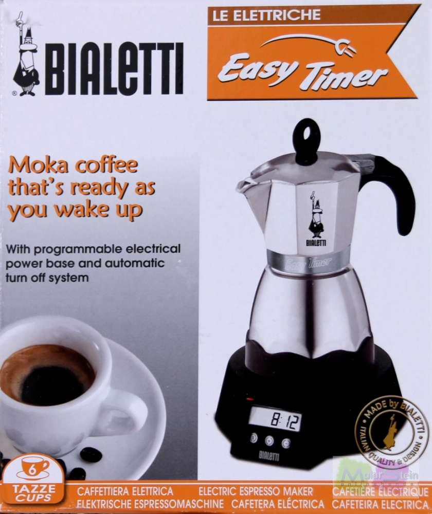 bialetti easy timer elektrischer espressokocher f r 6 tassen alu ebay. Black Bedroom Furniture Sets. Home Design Ideas