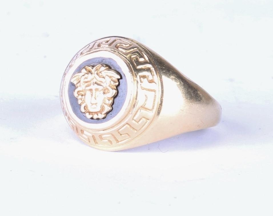 versace look medusa logo 585er herren goldring 14 karat gr 63 7 9g ring gold ebay. Black Bedroom Furniture Sets. Home Design Ideas