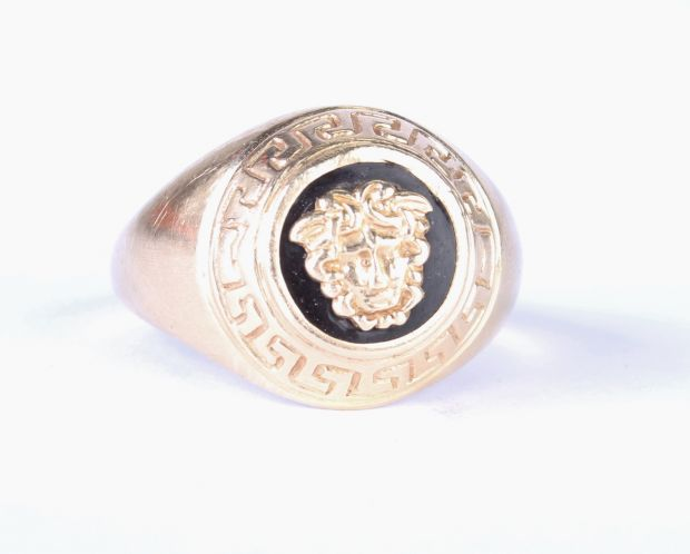 versace look medusa logo 585er herren goldring 14 karat gr 63 7 9g ring gold ebay. Black Bedroom Furniture Sets. Home Design Ideas
