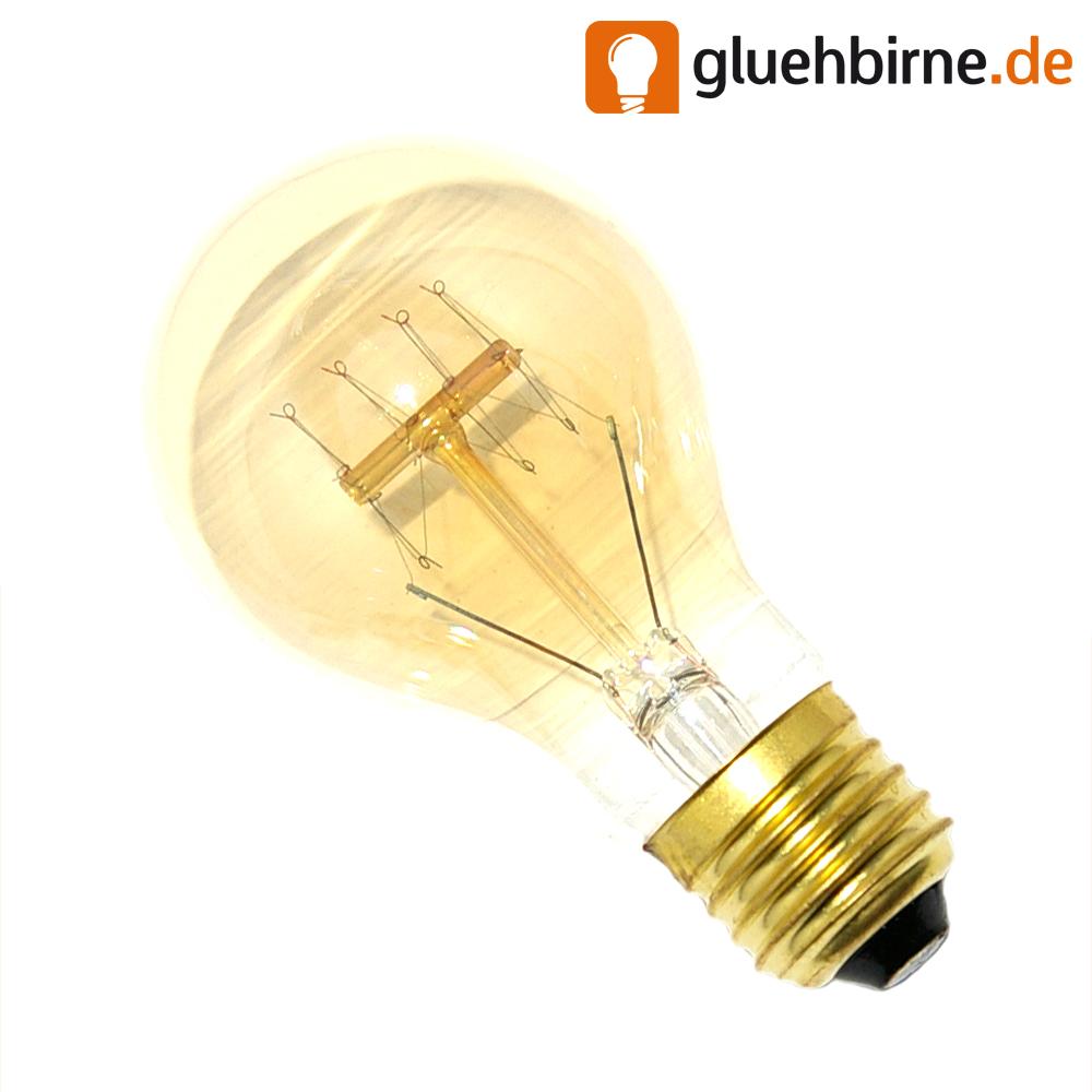 gl hbirne rustika 40w e27 vielfachwendel hnl kohlefadenlampe birne gl hlampe ebay. Black Bedroom Furniture Sets. Home Design Ideas