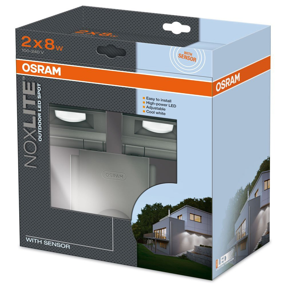 osram noxlite led spot 2 x 8w sensor au enleuchte bewegungs tageslichtsensor ebay. Black Bedroom Furniture Sets. Home Design Ideas