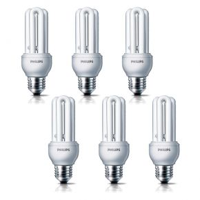 6x Philips Genie 18W E27 Energiesparlampe 2700k warm warmweiß Longlife Sparlampe