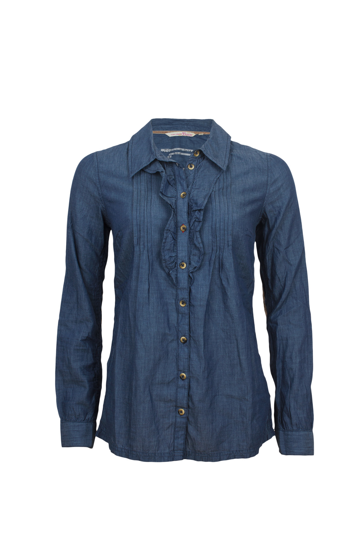 tom tailor damen jeans bluse chambray patches 2017157 ebay. Black Bedroom Furniture Sets. Home Design Ideas