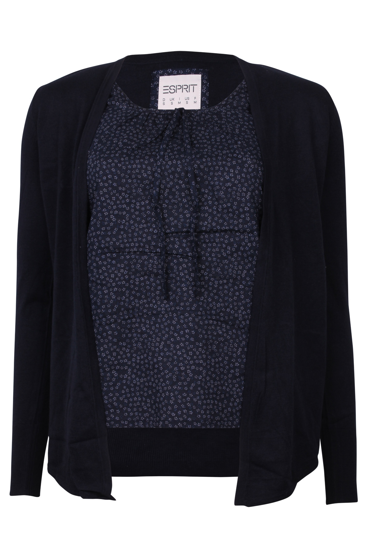 esprit damen cardigan pullover mit stoffeinsatz h21529 navy uvp 59 95 ebay. Black Bedroom Furniture Sets. Home Design Ideas