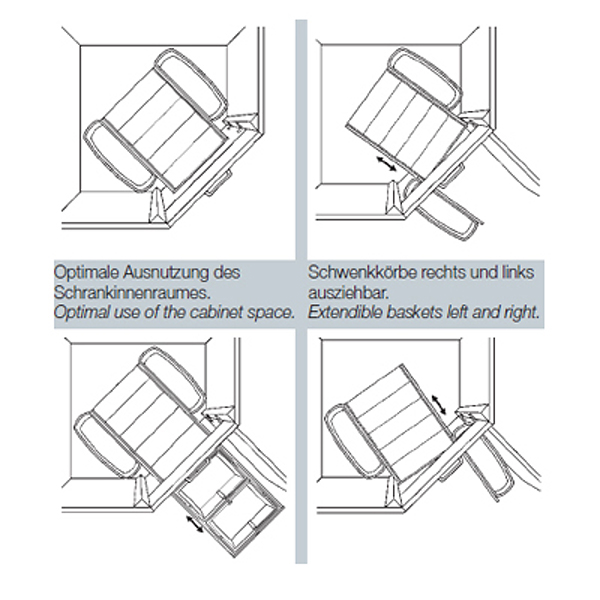 wesco 782653 11 einbau abfallsammler corner boy trio neu ebay. Black Bedroom Furniture Sets. Home Design Ideas