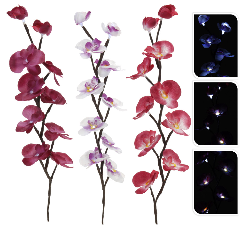 orchidee mit led beleuchtung 65 cm k nstliche blume zimmerpflanze leuchtend ebay. Black Bedroom Furniture Sets. Home Design Ideas