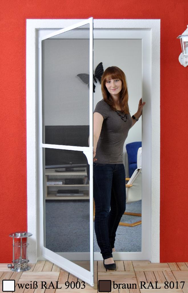 profi plus fliegengitter alu bausatz f r t r insektenschutz t re wei braun ebay. Black Bedroom Furniture Sets. Home Design Ideas