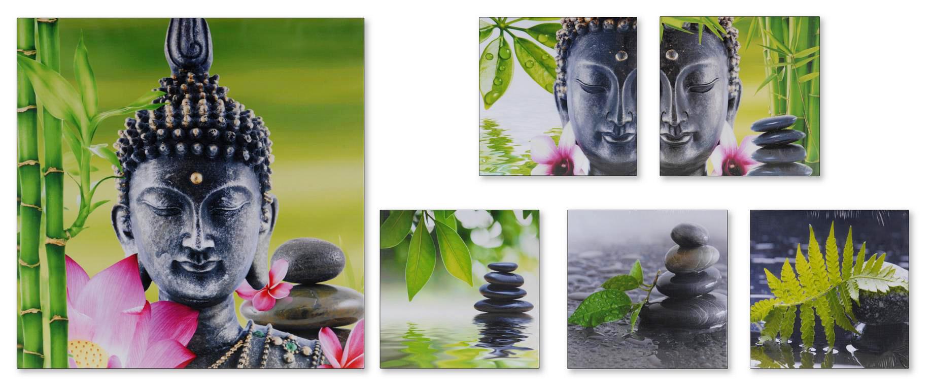 zen buddha bilder leinwand auf spannrahmen 6er set dekoration buddhismus ebay. Black Bedroom Furniture Sets. Home Design Ideas