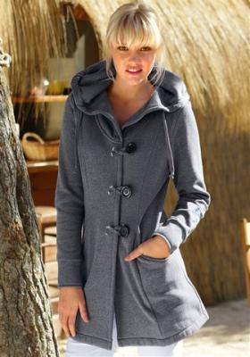 elegante maui wowie damen sweatjacke mit kapuze mantel grau gr s l neu uvp64 99 ebay. Black Bedroom Furniture Sets. Home Design Ideas