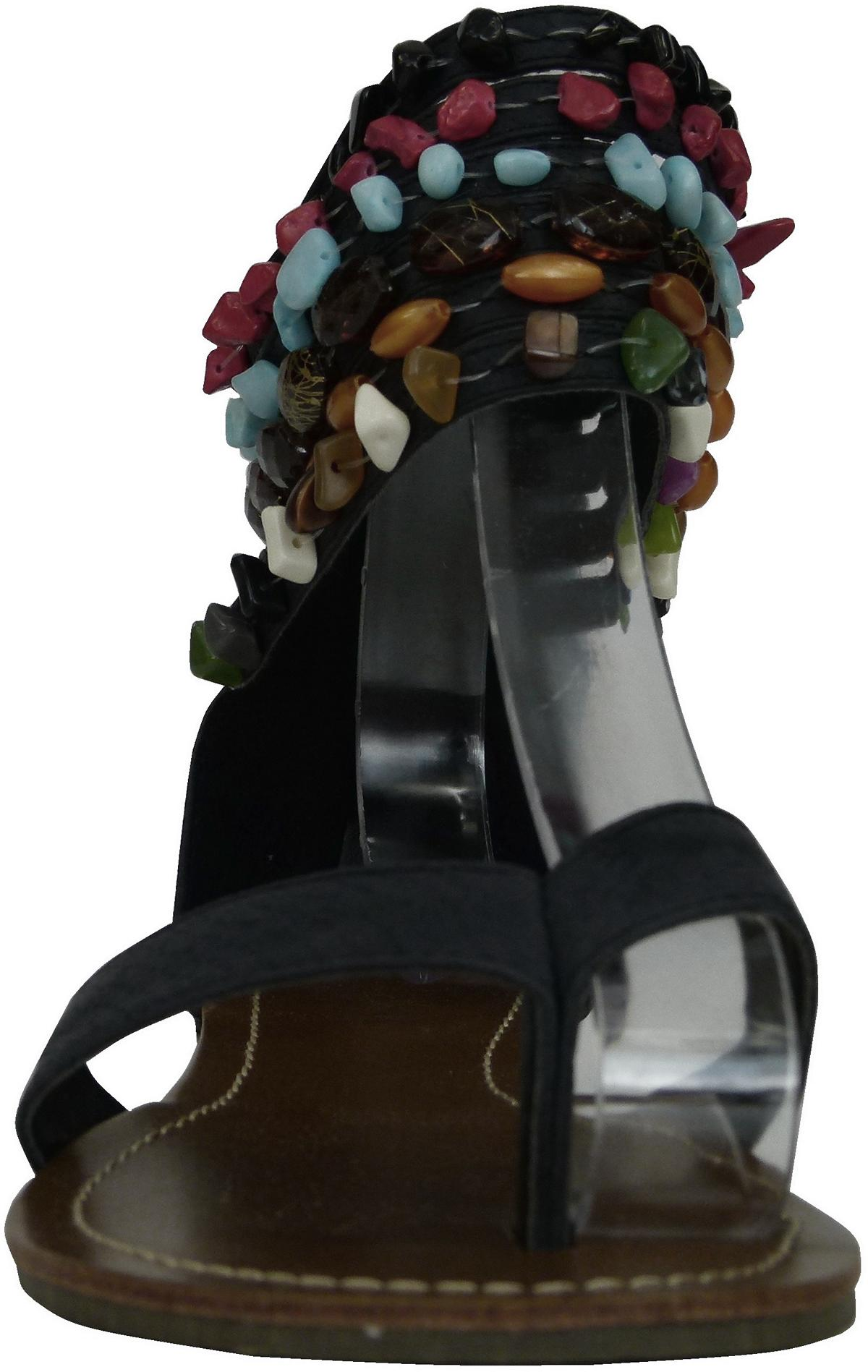 damen keilabsatz wedge r mer sandalen r mersandalen zehentrenner perlen riemchen. Black Bedroom Furniture Sets. Home Design Ideas