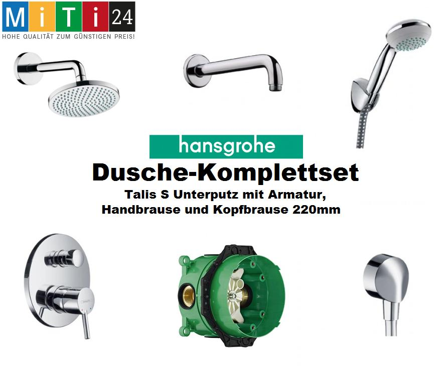 dusche komplettset hansgrohe talis s unterputz armatur hand und kopfbrause ebay. Black Bedroom Furniture Sets. Home Design Ideas