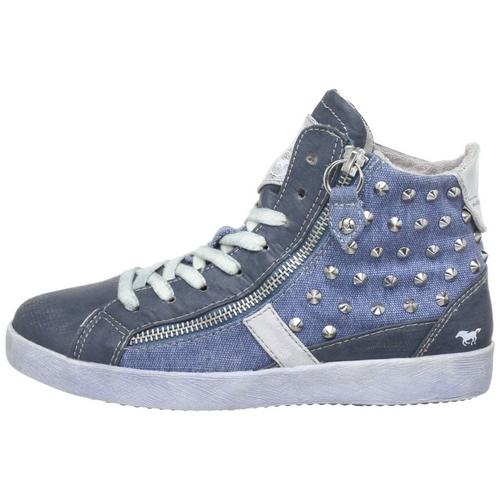 mustang damen sneaker blau nieten rei verschluss schn rrer high top. Black Bedroom Furniture Sets. Home Design Ideas