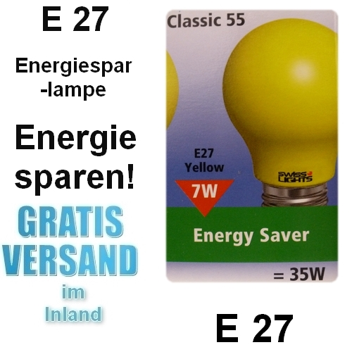 e27 esl 7 watt gelb classic gl hbirnen form energiesparlampe farbig globe lampe ebay. Black Bedroom Furniture Sets. Home Design Ideas
