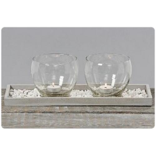 glas windlichtset auf holztablett ca 41 cm lang kerzenglas holz tablet deko ebay. Black Bedroom Furniture Sets. Home Design Ideas