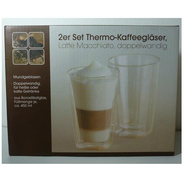 2 er set thermo kaffeegl ser eckig doppelwandig latte macciato 450 ml ebay. Black Bedroom Furniture Sets. Home Design Ideas
