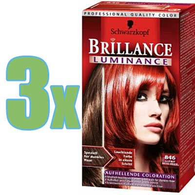 3x schwarzkopf brillance luminance coloration 846 rot - Coloration Schwarzkopf