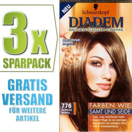 3x schwarzkopf diadem seiden color creme haarfarbe nr 776 dunkles mokka ebay. Black Bedroom Furniture Sets. Home Design Ideas