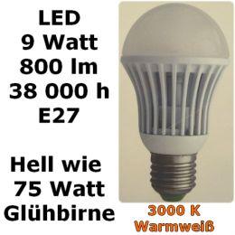 E27 LED Glühbirne 9 WATT Leuchtmittel 230V Globe warmweiß 3000k Glühlampe Lampe