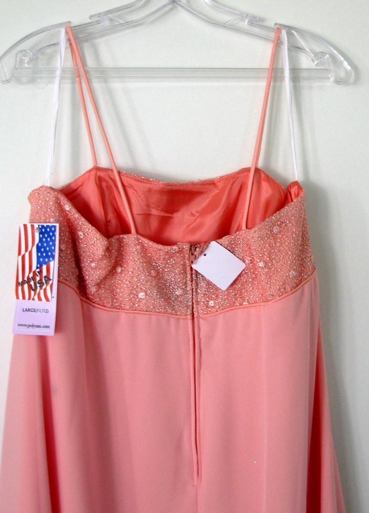 abendkleid abibalkleid empirekleid made in usa farbe pfirsich gr l 40 42 ebay. Black Bedroom Furniture Sets. Home Design Ideas