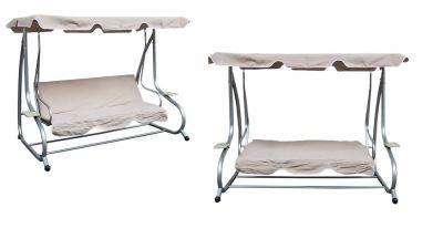 hollywoodschaukel gartenschaukel gartenliege f r 3 personen gestell grau ebay. Black Bedroom Furniture Sets. Home Design Ideas