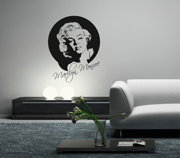 g303 wandaufkleber marilyn monroe wandtattoo film wohnzimmer ebay. Black Bedroom Furniture Sets. Home Design Ideas