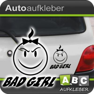 e208 auto aufkleber bad girl smiley autoaufkleber sticker schriftzug ebay. Black Bedroom Furniture Sets. Home Design Ideas
