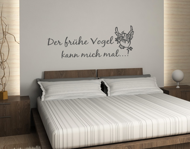 g320 wandtattoo der fr he vogel kann mich mal schlafzimmer badezimmer wc k che ebay. Black Bedroom Furniture Sets. Home Design Ideas