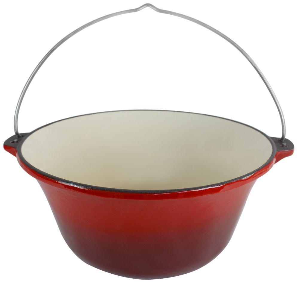 10 8 l gulaschkessel aus gusseisen rot wei emailliert 10 8 liter kessel topf. Black Bedroom Furniture Sets. Home Design Ideas