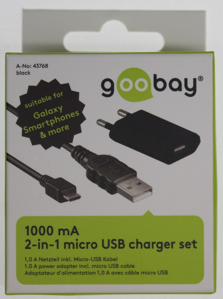 goobay reiseladeset handy ladeger t netzteil stecker kabel micro usb 1m schwarz ebay. Black Bedroom Furniture Sets. Home Design Ideas