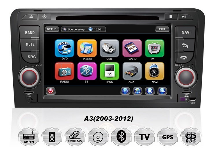 audi a3 rns sportback s3 oem autoradio navigation gps tmc dvd mp3 usb sd dvbt. Black Bedroom Furniture Sets. Home Design Ideas