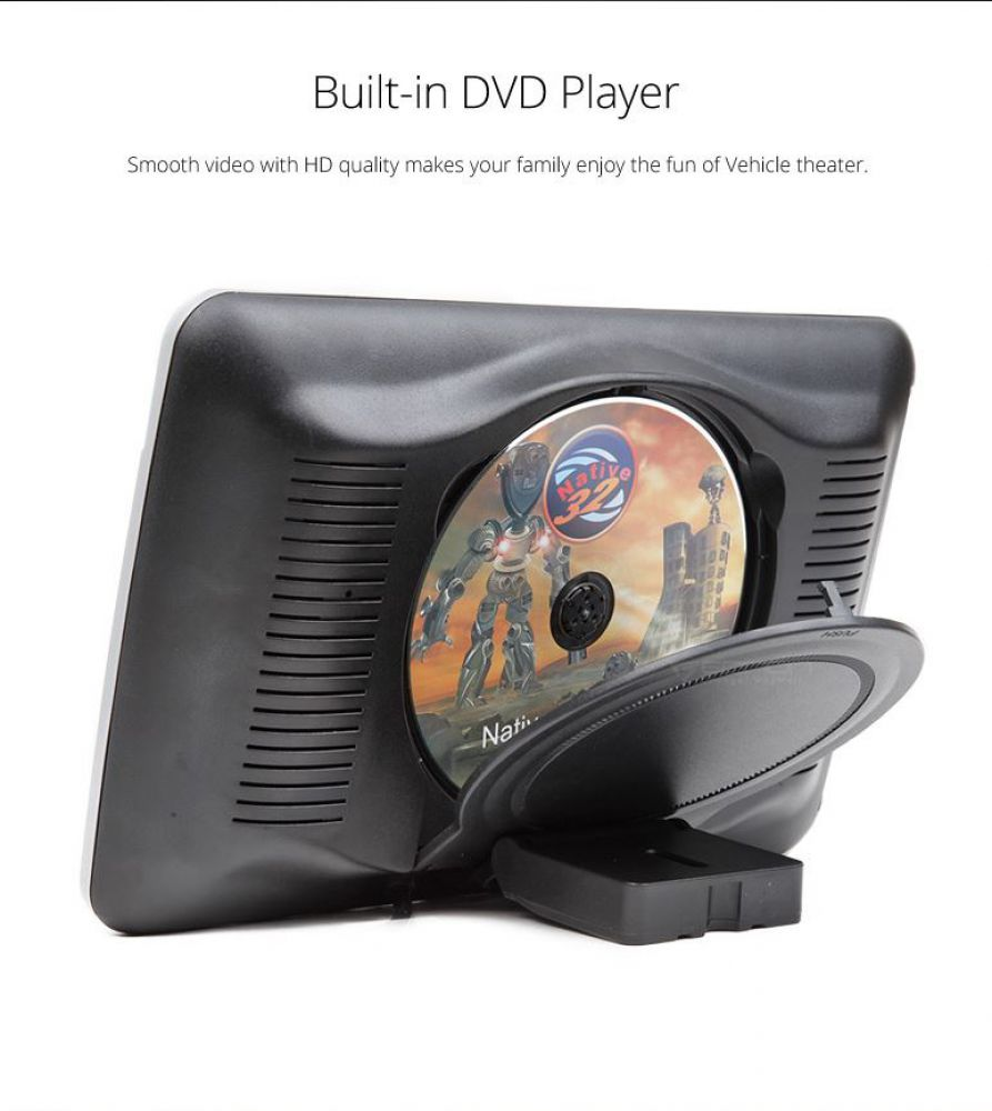 hd 10 1 monitor f r auto kopfst tzen mit dvd player usb. Black Bedroom Furniture Sets. Home Design Ideas