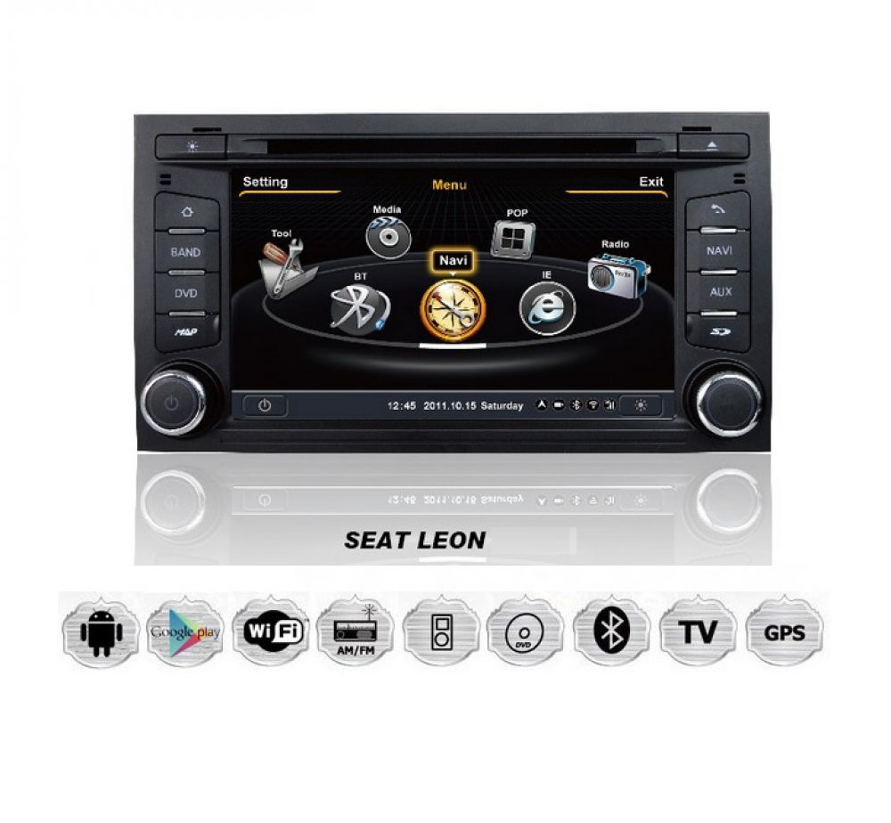 seat leon autoradio android touchscreen gps navigation dvd. Black Bedroom Furniture Sets. Home Design Ideas