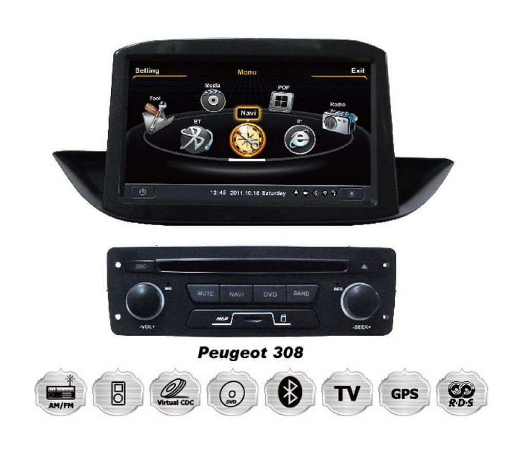 peugeot 308 touchscreen einbau autoradio dvd 3d gps. Black Bedroom Furniture Sets. Home Design Ideas