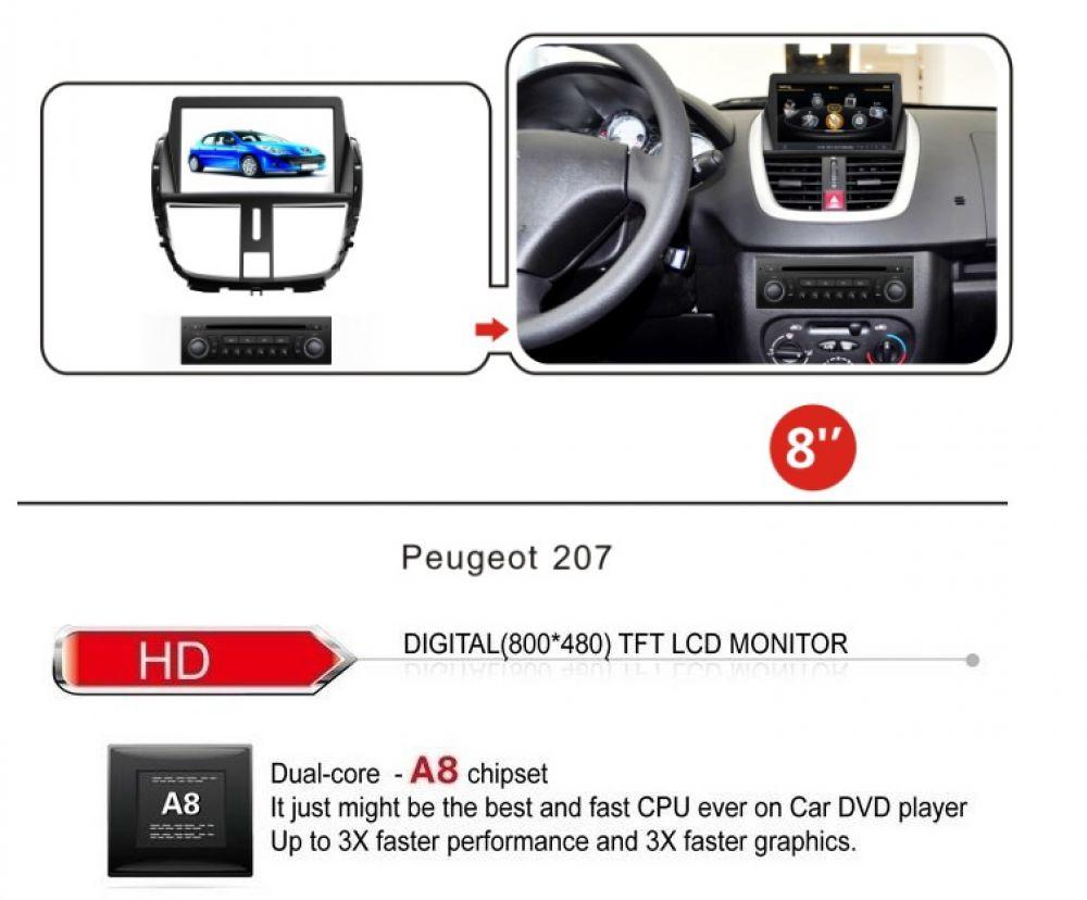 peugeot 207 touchscreen android autoradio navi gps dvd mp3. Black Bedroom Furniture Sets. Home Design Ideas