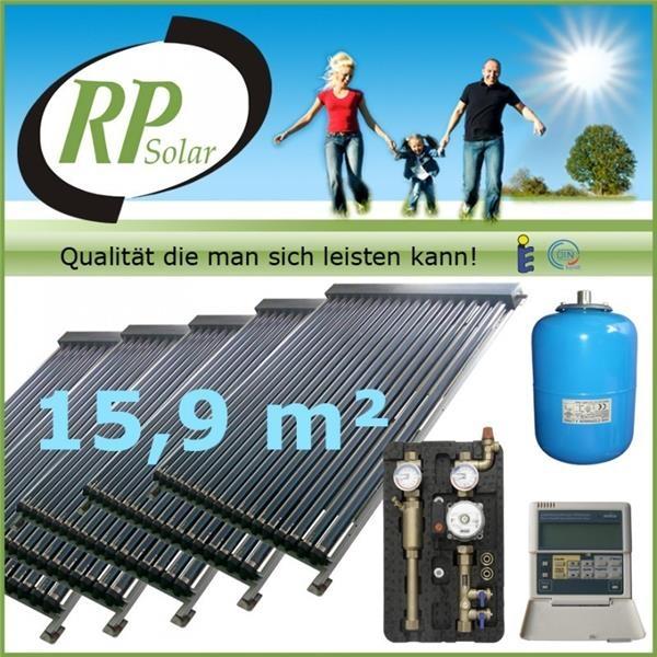 solaranlage warmwasser vakuumr hren komplettpaket solarpaket x9000 5 ebay. Black Bedroom Furniture Sets. Home Design Ideas