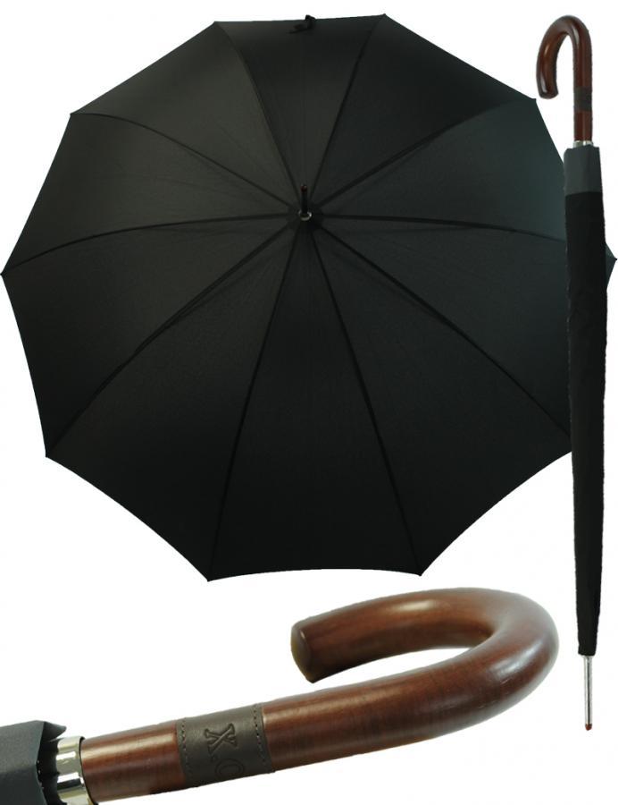 Herren-Stockschirm-Automatik-Regenschirm-X-O-Gentleman-schwarz-10-teilig-stabil