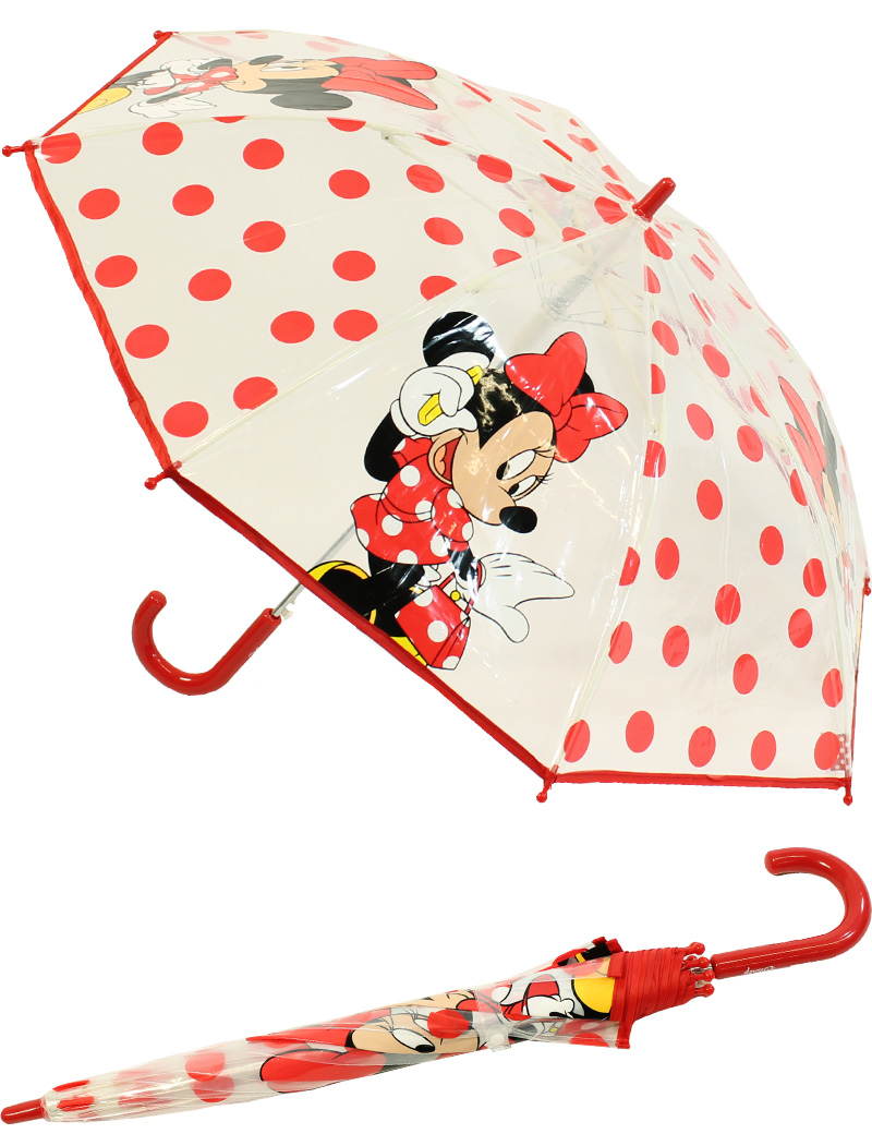 kinder regenschirm durchsichtig transparent mit automatik disney minnie maus. Black Bedroom Furniture Sets. Home Design Ideas