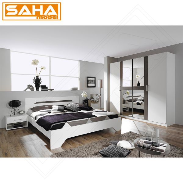 Schlafzimmer Set Rubi Weiß Lavagrau 4 tlg Drehtürenschrank Bett Nachttische  eBay